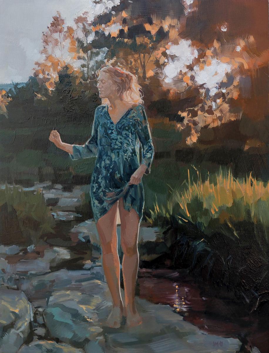 Sommerabend, 30 x 40 cm, Öl/MDF, 2019