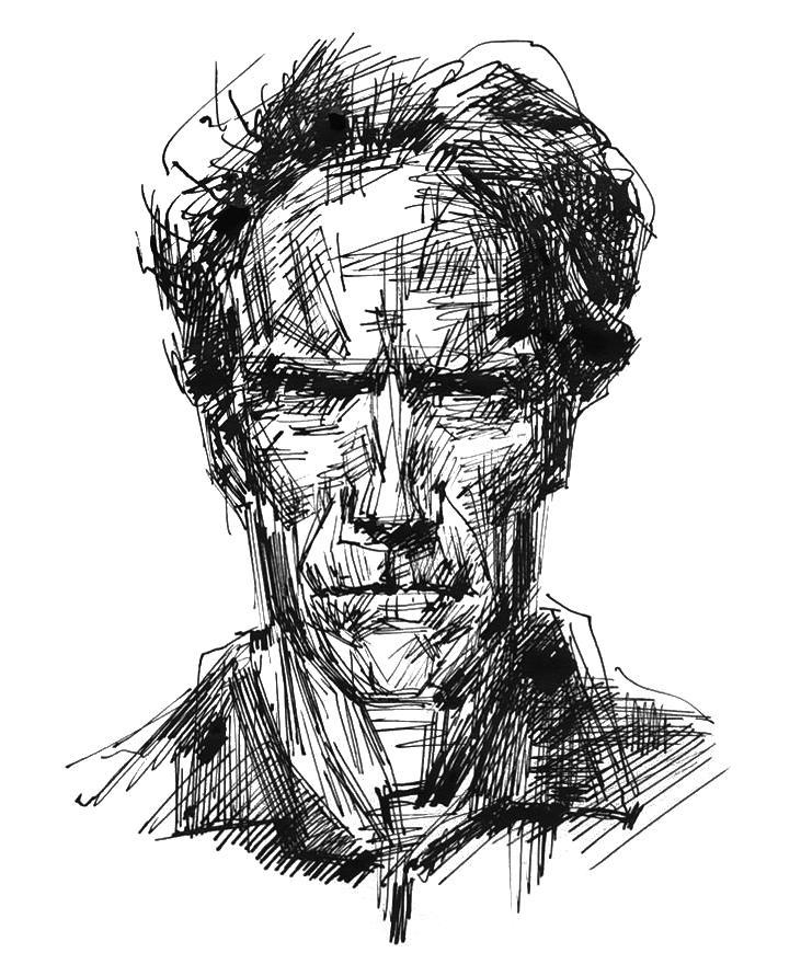 Abbildung Clint Eastwood portraitiert von Heiko Mattausch